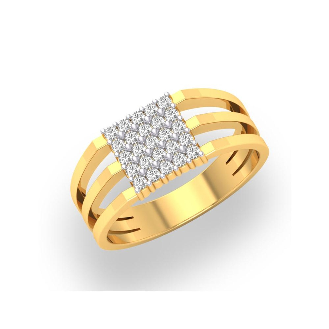 Charu Jewels Diamond Ring Made with 5.02 Gms 18 Kt Yellow Gold And 0.36 Carat Diamonds