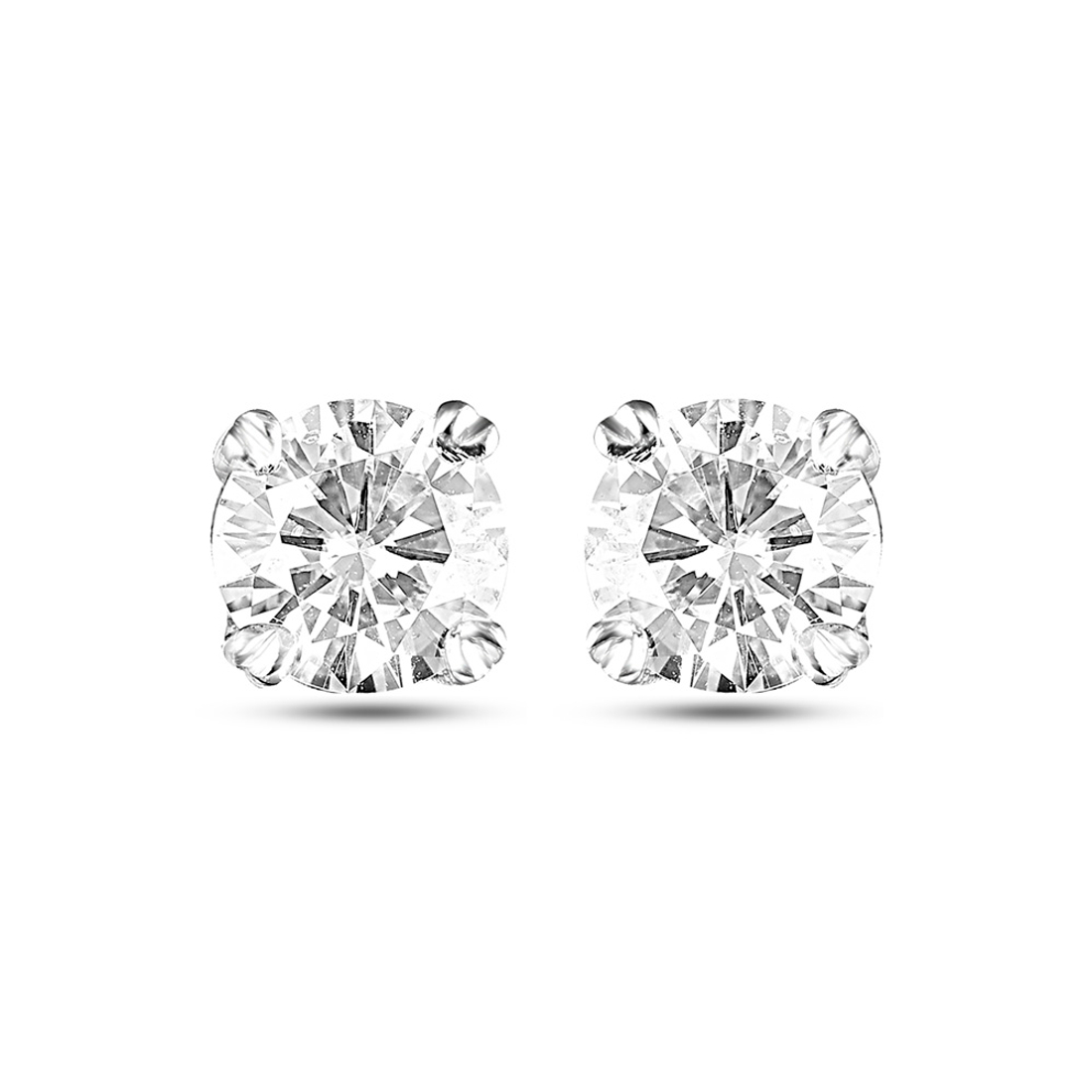 Forever Brilliant Round 5.0mm Moissanite Earrings weighted 0.80ct (from Charles and Colvard) made in Silver.