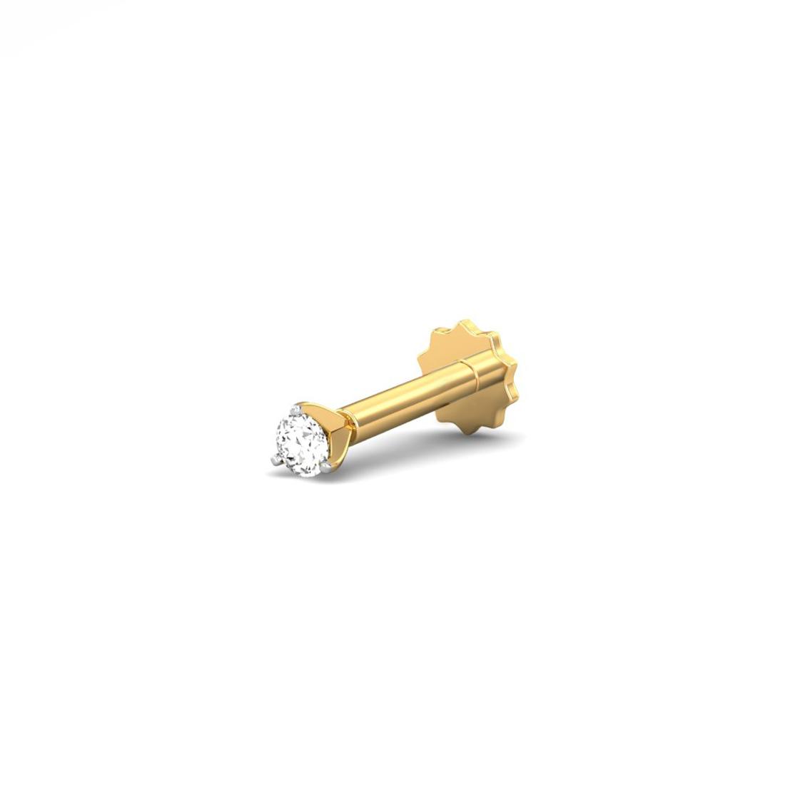 Jewel samarth 18k(750)Yellow Gold and 0.03 ct.(IGI Certified Diamonds) Nose pin