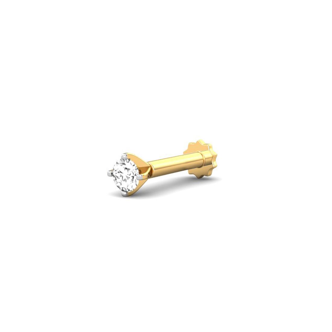 Jewel samarth 18k(750)Yellow Gold and 0.05 ct.(IGI Certified Diamonds) Nose pin