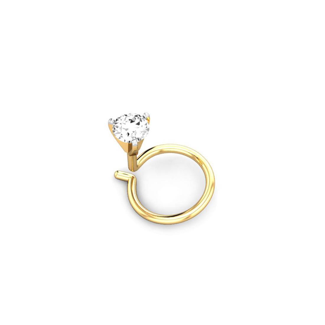 Jewel samarth 18k(750)Yellow Gold and 0.07 ct.(IGI Certified Diamonds) Nose pin