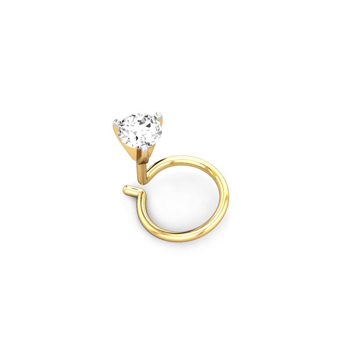Jewel samarth 18k(750)Yellow Gold and 0.10 ct.(IGI Certified Diamonds) Nose pin