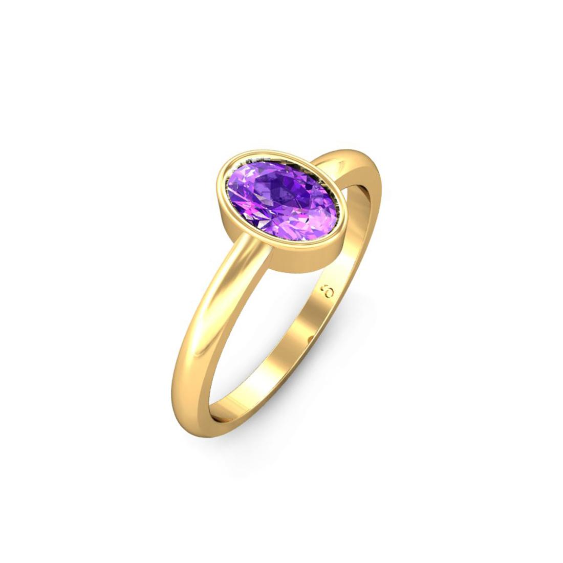 Jewel samarth 18k(750) BIS Hallmark Yellow Gold Akira Amethyst Ring (CGL Certified)