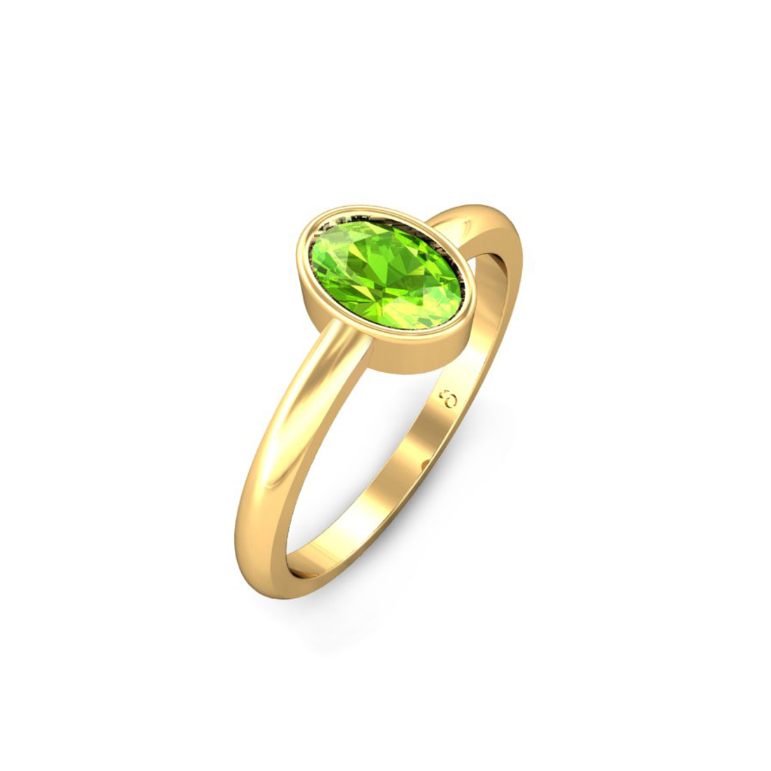 Jewel samarth 18k(750) BIS Hallmark Yellow Gold Akira Peridot Ring (CGL Certified)