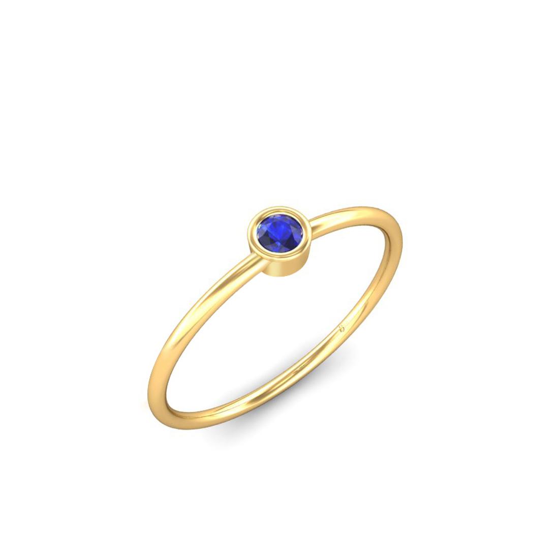 Jewel samarth 18k(750) BIS Hallmark Yellow Gold Nivya Iolite Ring (CGL Certified)