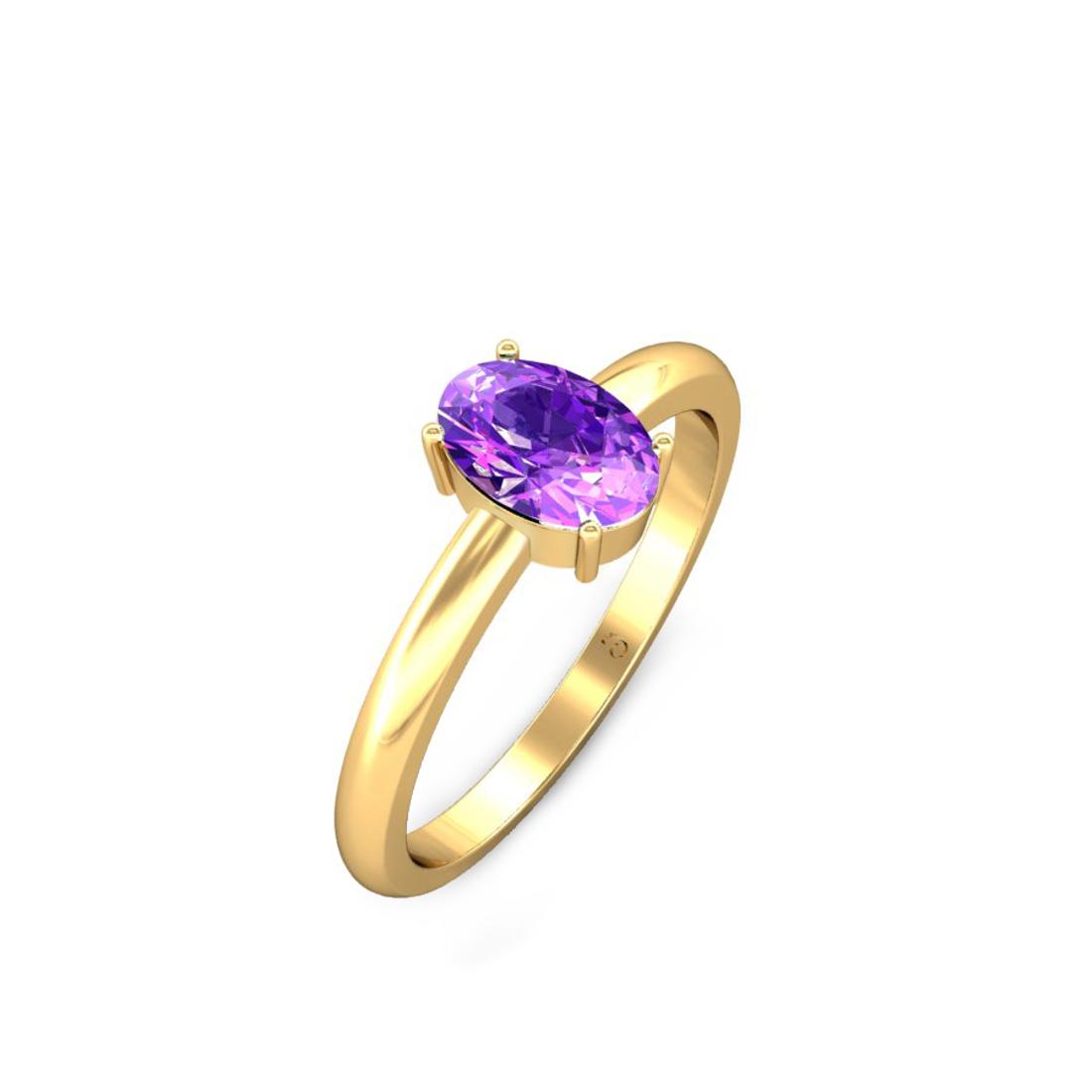 Jewel samarth 18k(750) BIS Hallmark Yellow Gold  Ayesha Amethyst Ring (CGL Certified)