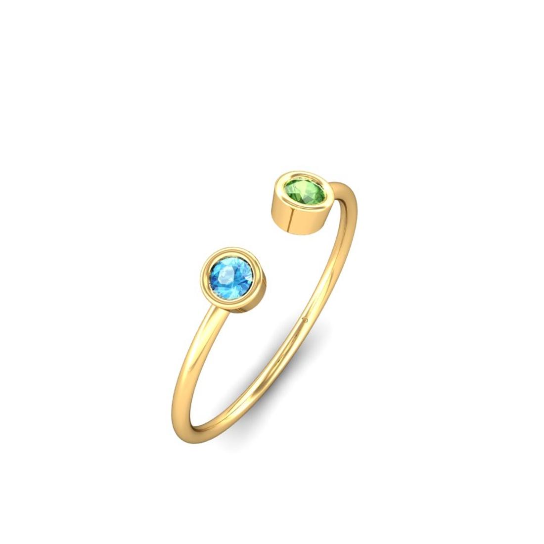 Jewel samarth 18k(750) BIS Hallmark Yellow Gold Poles Apart Blue Topz & Tourmaline Ring (CGL Certified)