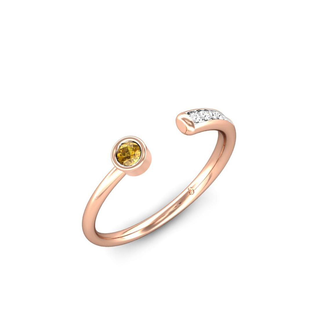 Jewel samarth 18k(750) BIS Hallmark Rose Gold Sparkling Trail Citrine Ring (CGL Certified)
