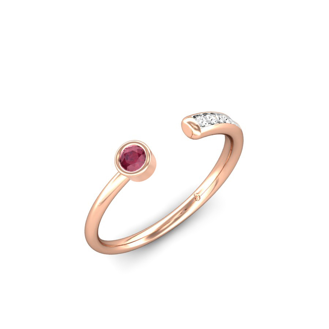 Jewel samarth 18k(750) BIS Hallmark Rose Gold Sparkling Trail Red Spinel Ring (CGL Certified)