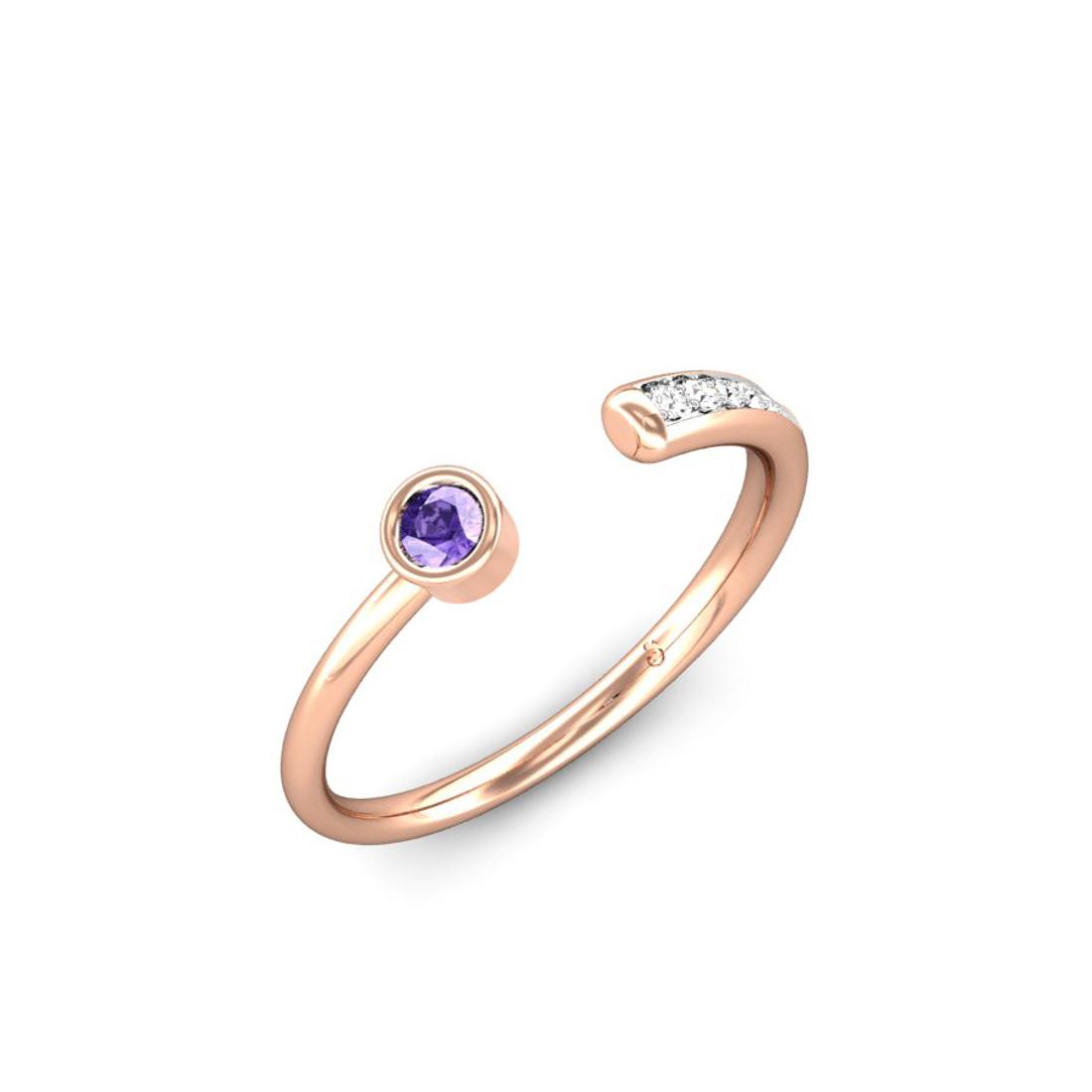Jewel samarth 18k(750) BIS Hallmark Rose Gold Sparkling Trail Tanzanite Ring (CGL Certified)