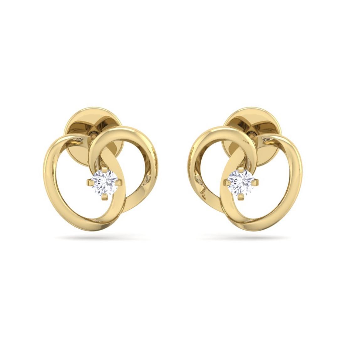 Single Diamond Studded Prong Set Heart Shape Earring For Women