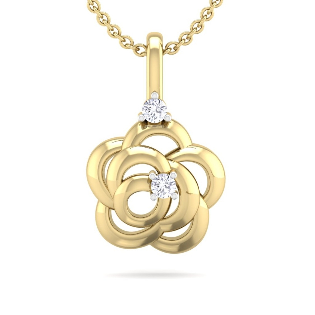 Yellow Gold Natural Round Diamond Studded Designer Pendant For Women