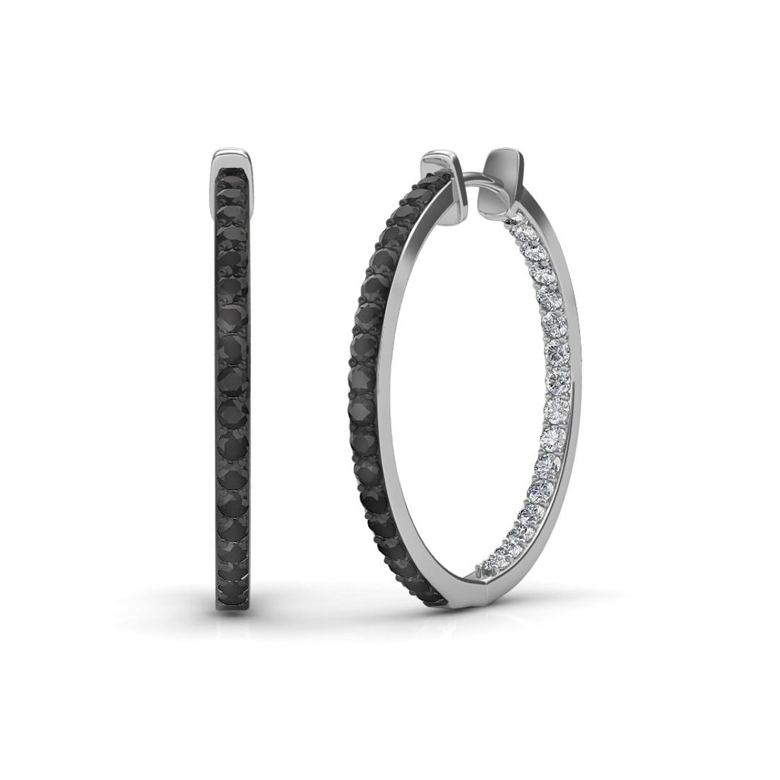 Sarvada Jewels' The Keya Black Diamond Hoop Earrings