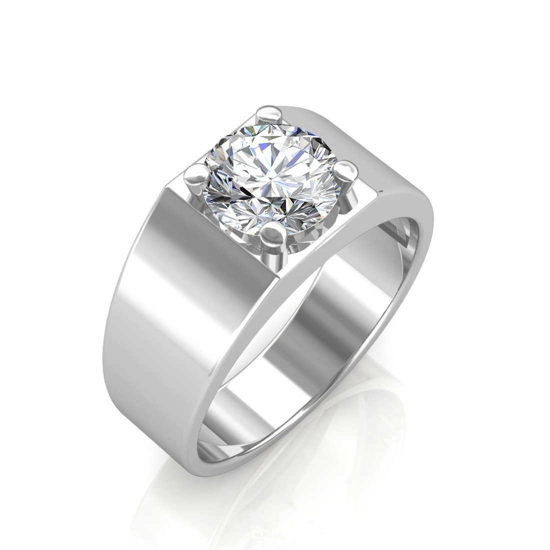 Sarvada Jewels' The Evergreen Solitaire Ring For Him - White - 0.20 carat
