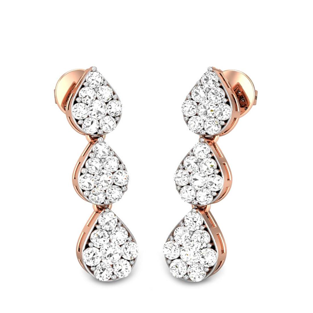 Candere by Kalyan Jewellers Rose Gold Star Drops Ziah Diamond Earrings for Women (IGI Certified Diamonds)