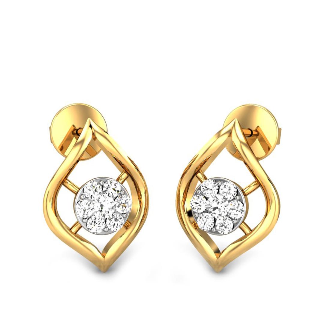 Candere by Kalyan Jewellers Yellow Gold Cari Ziah Diamond Earrings for Women (IGI Certified Diamonds)