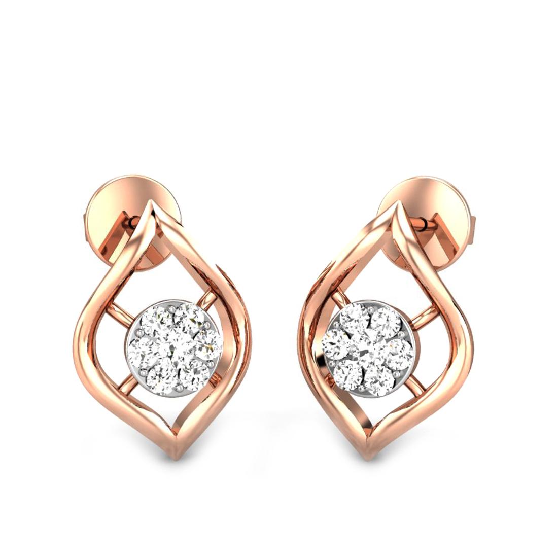 Candere by Kalyan Jewellers Rose Gold Cari Ziah Diamond Earrings for Women (IGI Certified Diamonds)