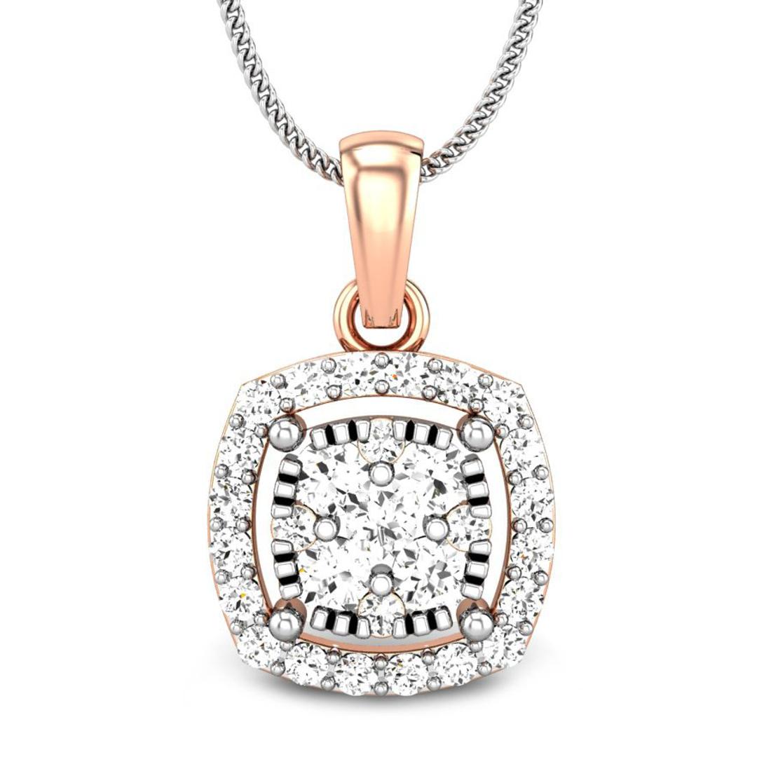 Candere by Kalyan Jewellers Rose Gold Dalla Ziah Diamond Pendant for Women (IGI Certified)