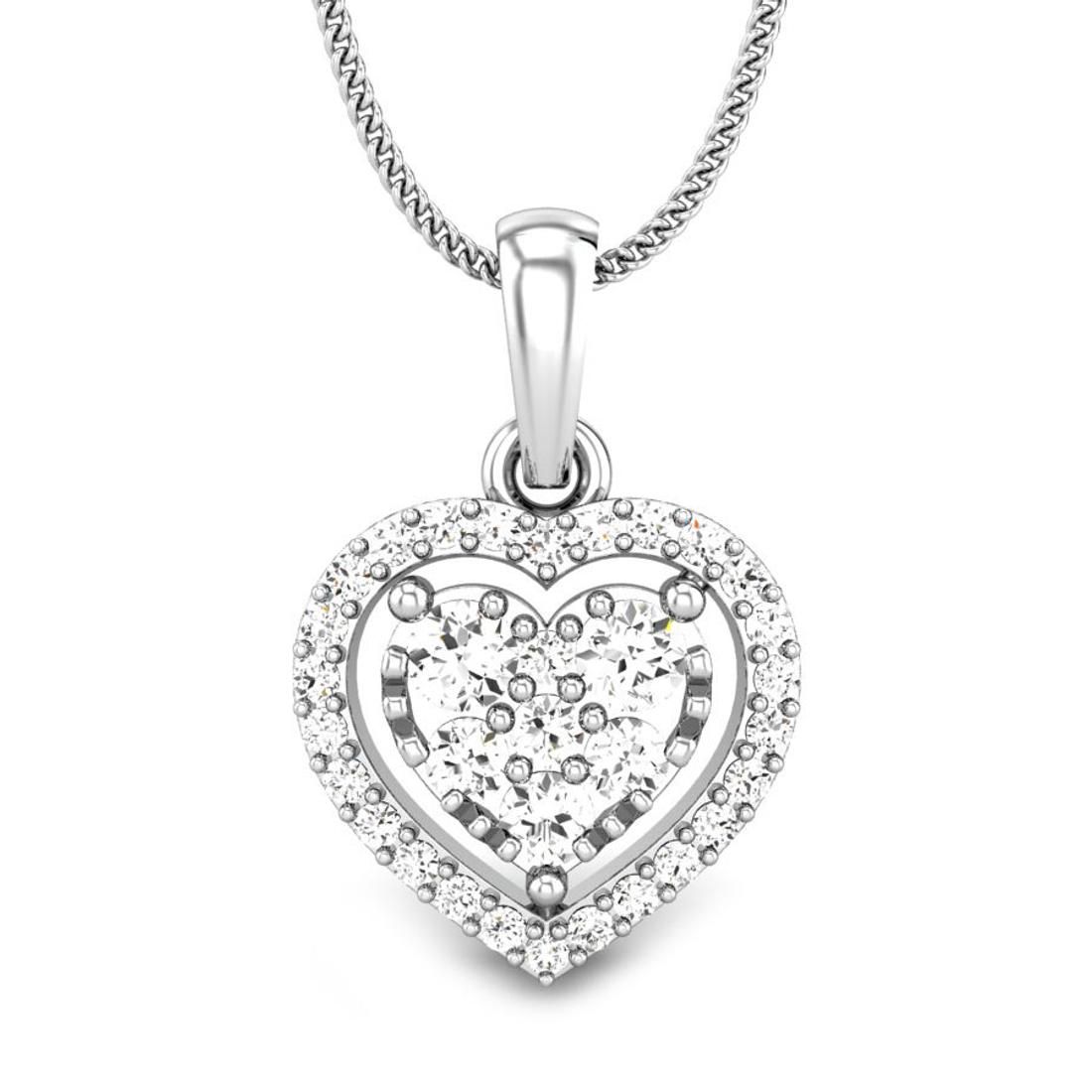 Candere by Kalyan Jewellers White Gold Elaina Ziah Diamond Pendant for Women (IGI Certified)