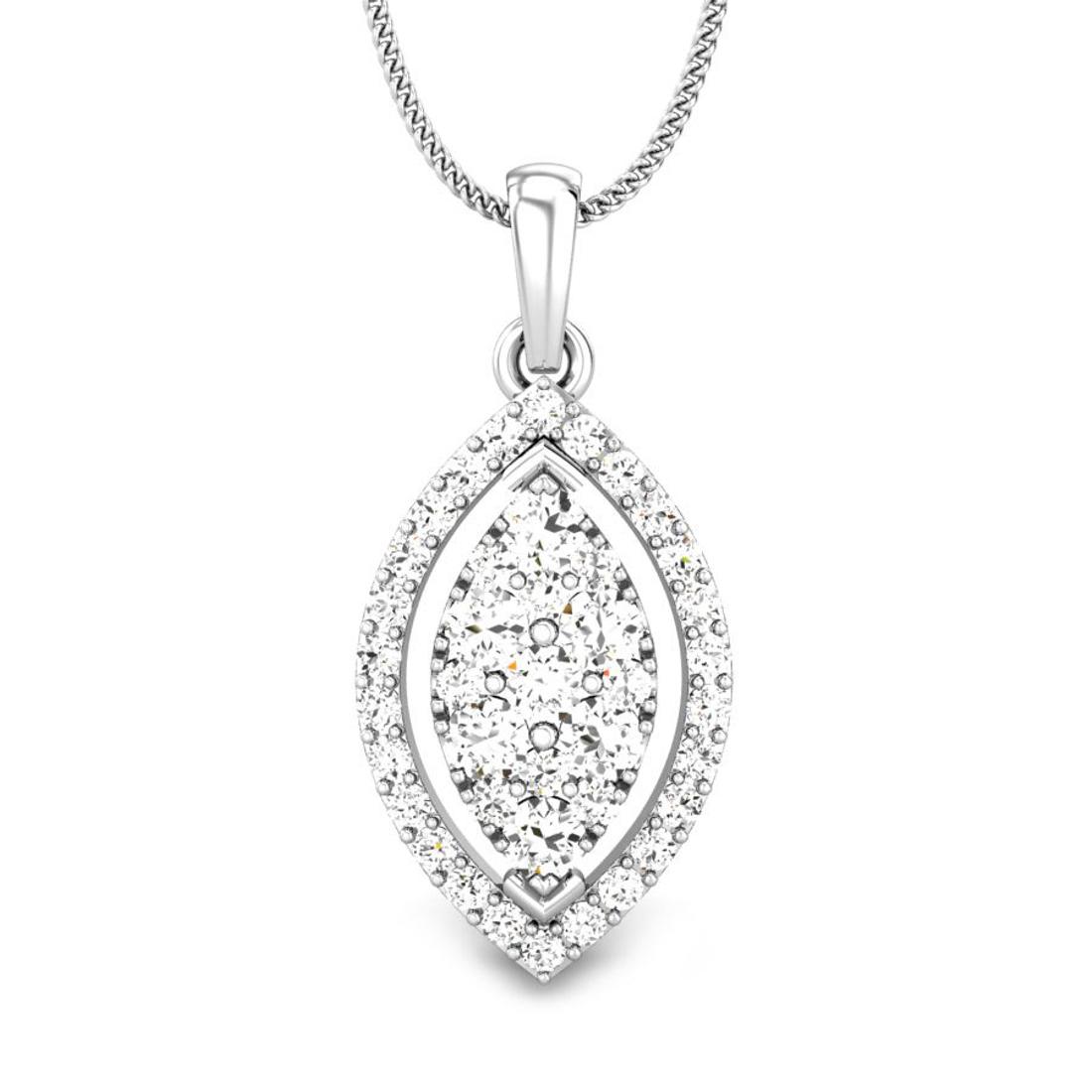 Candere by Kalyan Jewellers White Gold Kirie Ziah Diamond Pendant for Women (IGI Certified)