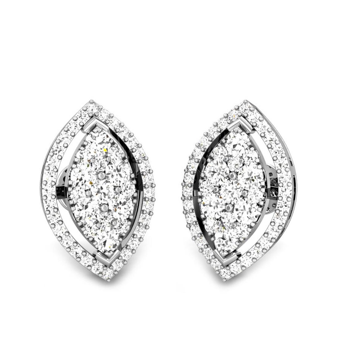 Candere by Kalyan Jewellers White Gold Kirie Ziah Diamond Earrings for Women (IGI Certified Diamonds)