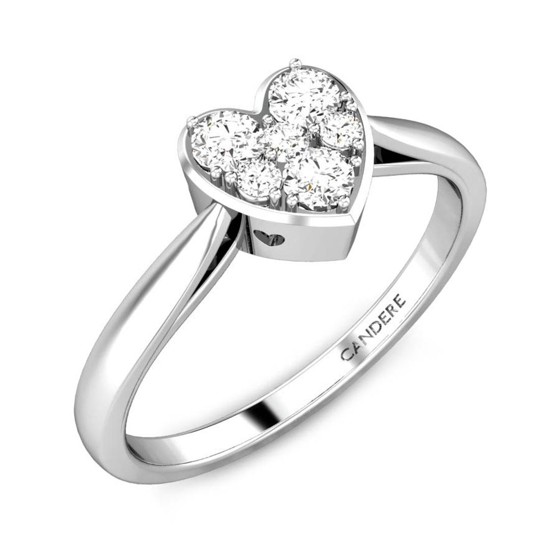 Candere By Kalyan Jewellers 14k (585) BIS Hallmark White Gold Heart of light Ziah Diamond Ring (IGI Certified)