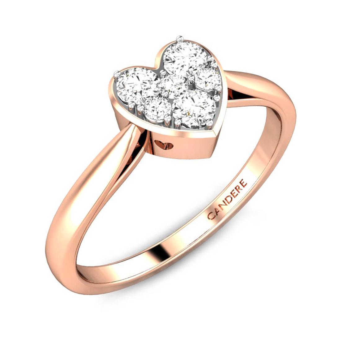 Candere By Kalyan Jewellers 14k (585) BIS Hallmark Rose Gold Heart of light Ziah Diamond Ring (IGI Certified)