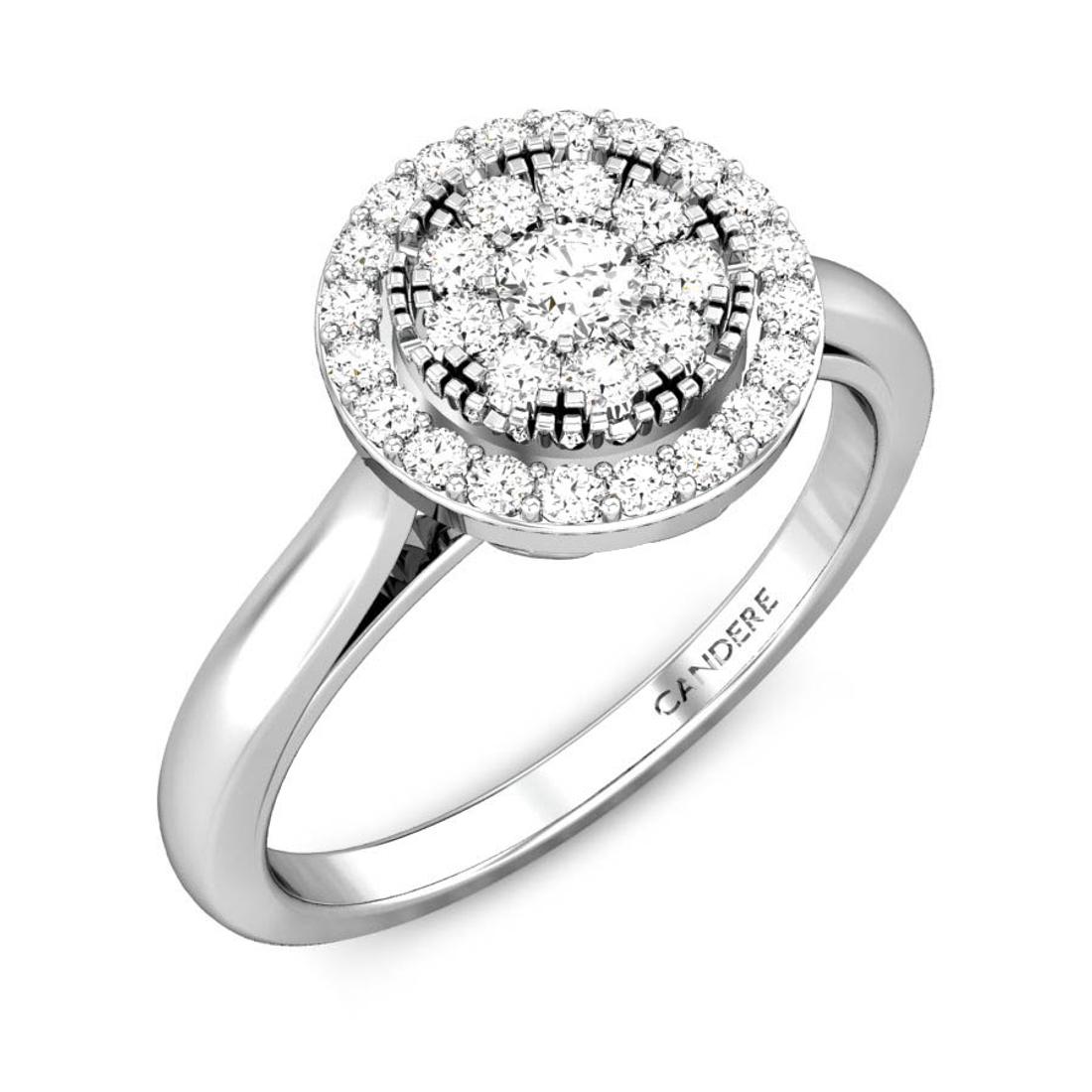 Candere By Kalyan Jewellers 14k (585) BIS Hallmark White Gold Orah Ziah Diamond Ring (IGI Certified)