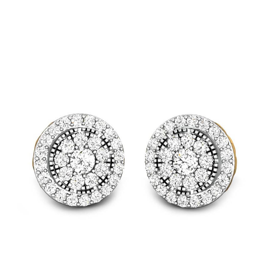 Candere by Kalyan Jewellers Yellow Gold Orah Ziah Diamond Earrings for Women (IGI Certified Diamonds)