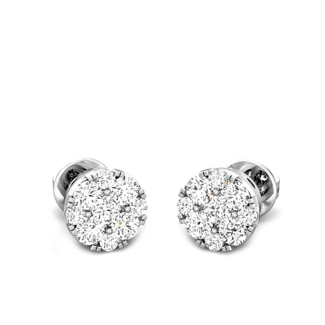 Candere by Kalyan Jewellers White Gold Lucrecia Ziah Diamond Earrings for Women (IGI Certified Diamonds)