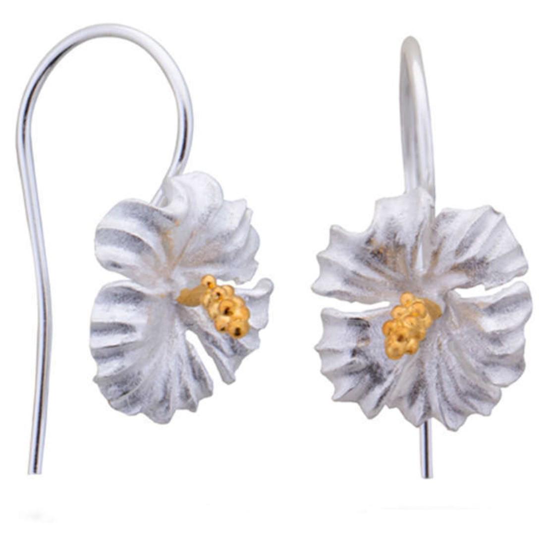 Silver Shine 92.5 Streling Silver Flower Drop Silver Earring For Women & Girls