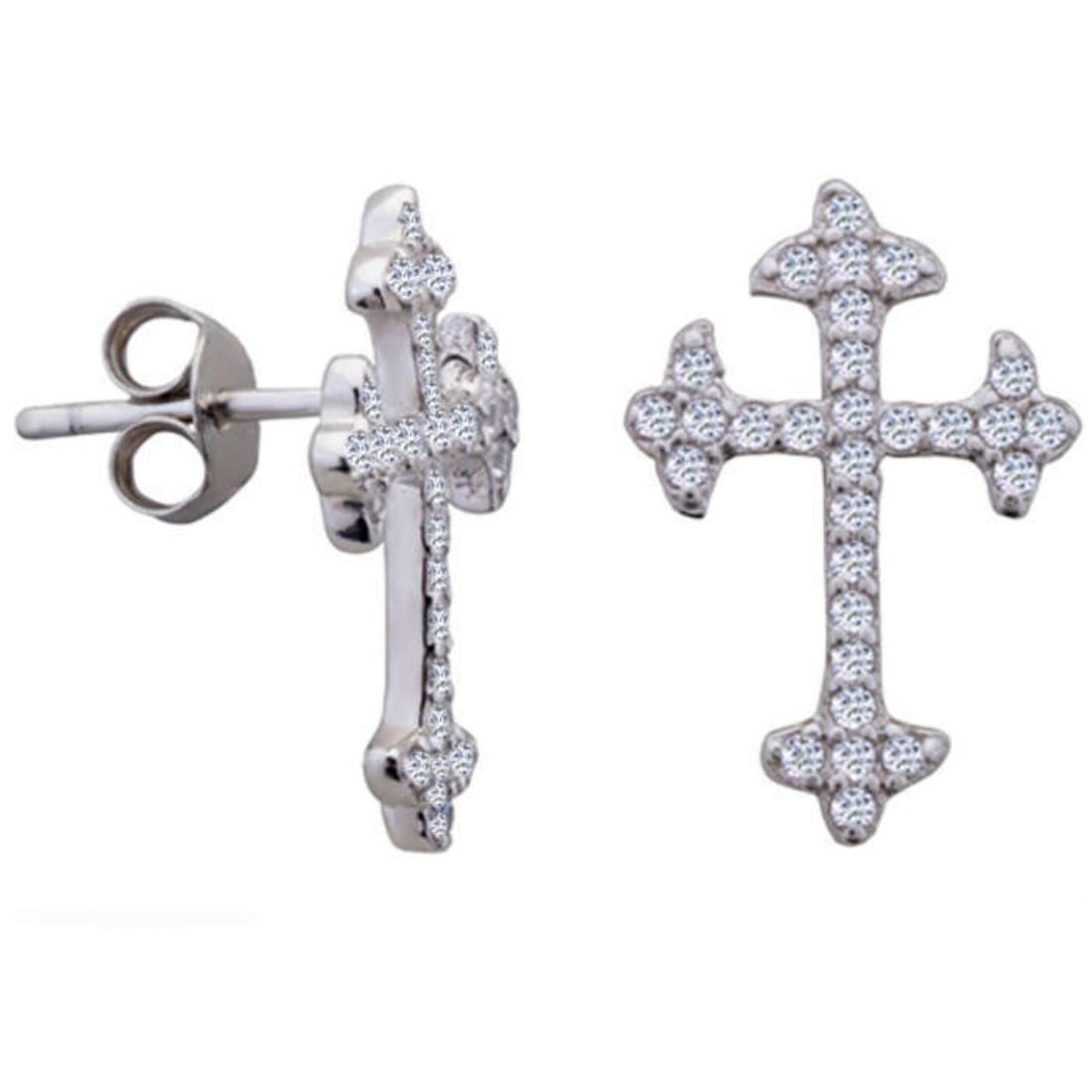Silver Shine 92.5 Streling Silver Cross Stud Silver Earring For Women & Girls