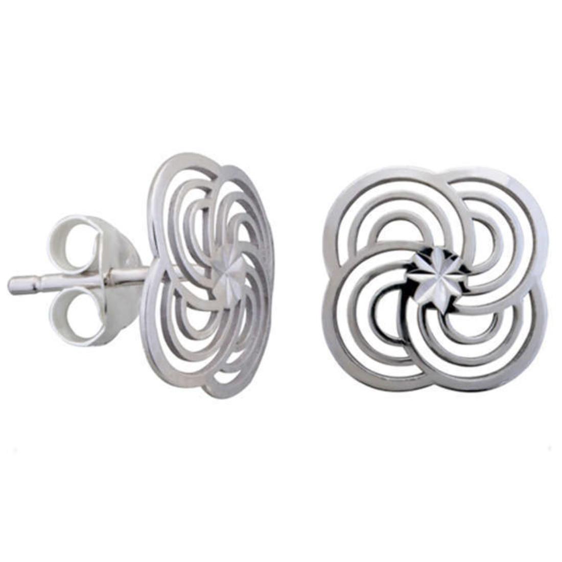 Silver Shine 92.5 Streling Silver Silver Flower Stud Earring For Women & Girls