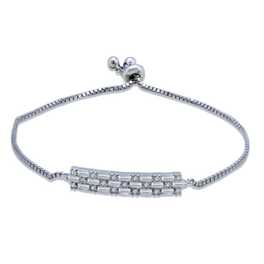 Silver Shine 92.5 Streling Silver Rectangle Diamond Bracelet for Women And Girls