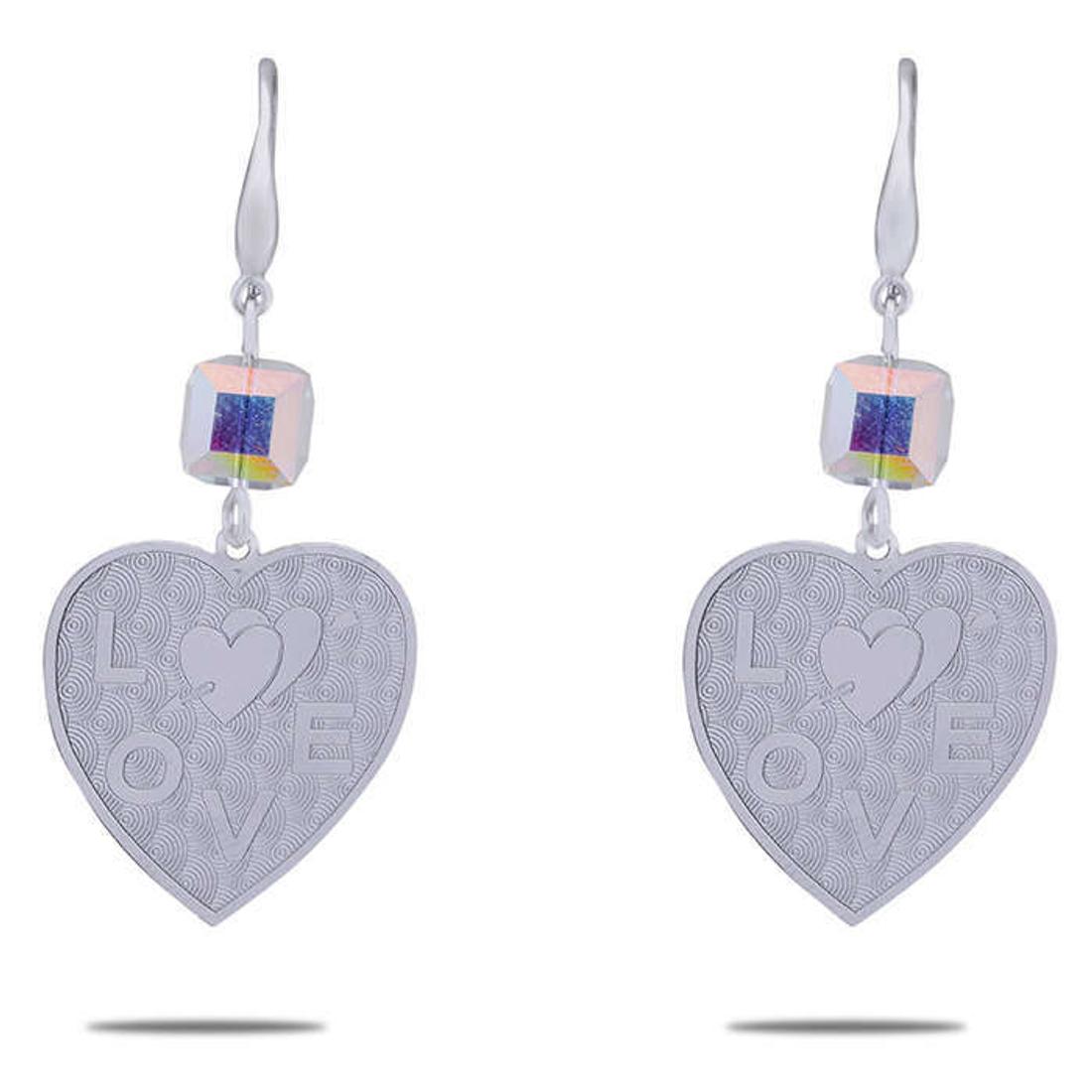 Silver Shine 92.5 Sterling Love In Heart Drop Silver Earring for Women & Girls