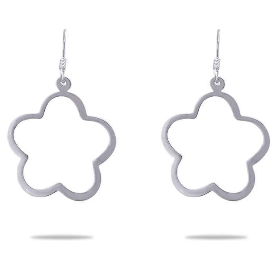 Silver Shine 92.5 Sterling Cute Flower Circle Silver Earring for Women & Girls