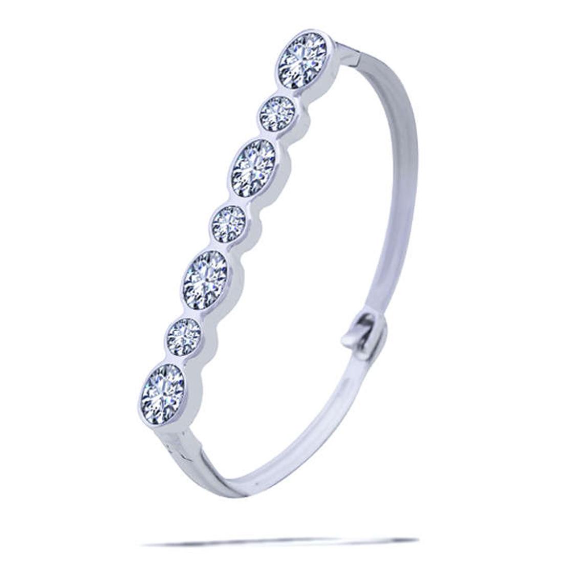 Silver Shine 92.5 Sterling SilverBig & Small Diamond Bracelet for Women & Girls