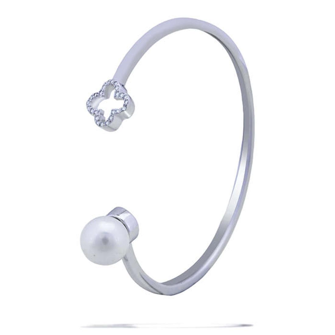 Silver Shine 92.5 Sterling SilverPlus & Pearl Silver Hard Bracelet for Women & Girls