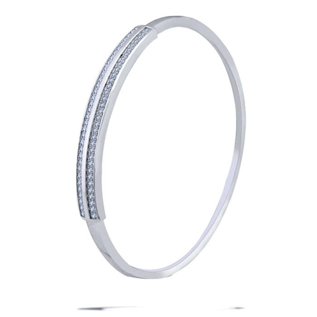 Silver Shine 92.5 Sterling SilverFancy Diamond Silver Bracelet for Women & Girls