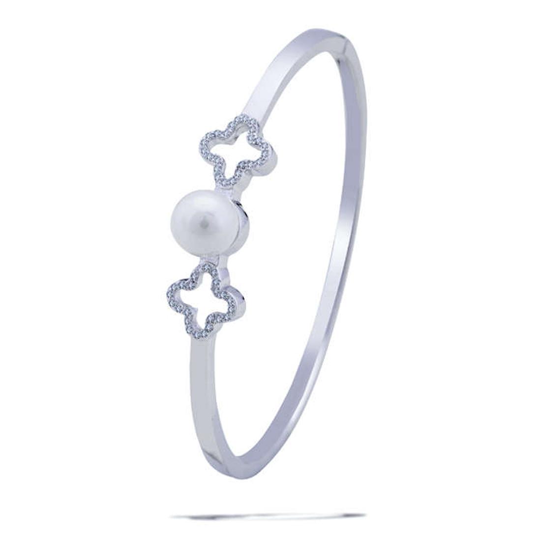 Silver Shine 92.5 Sterling SilverTwo Plus With Pearl Hard Bracelet for Women & Girls