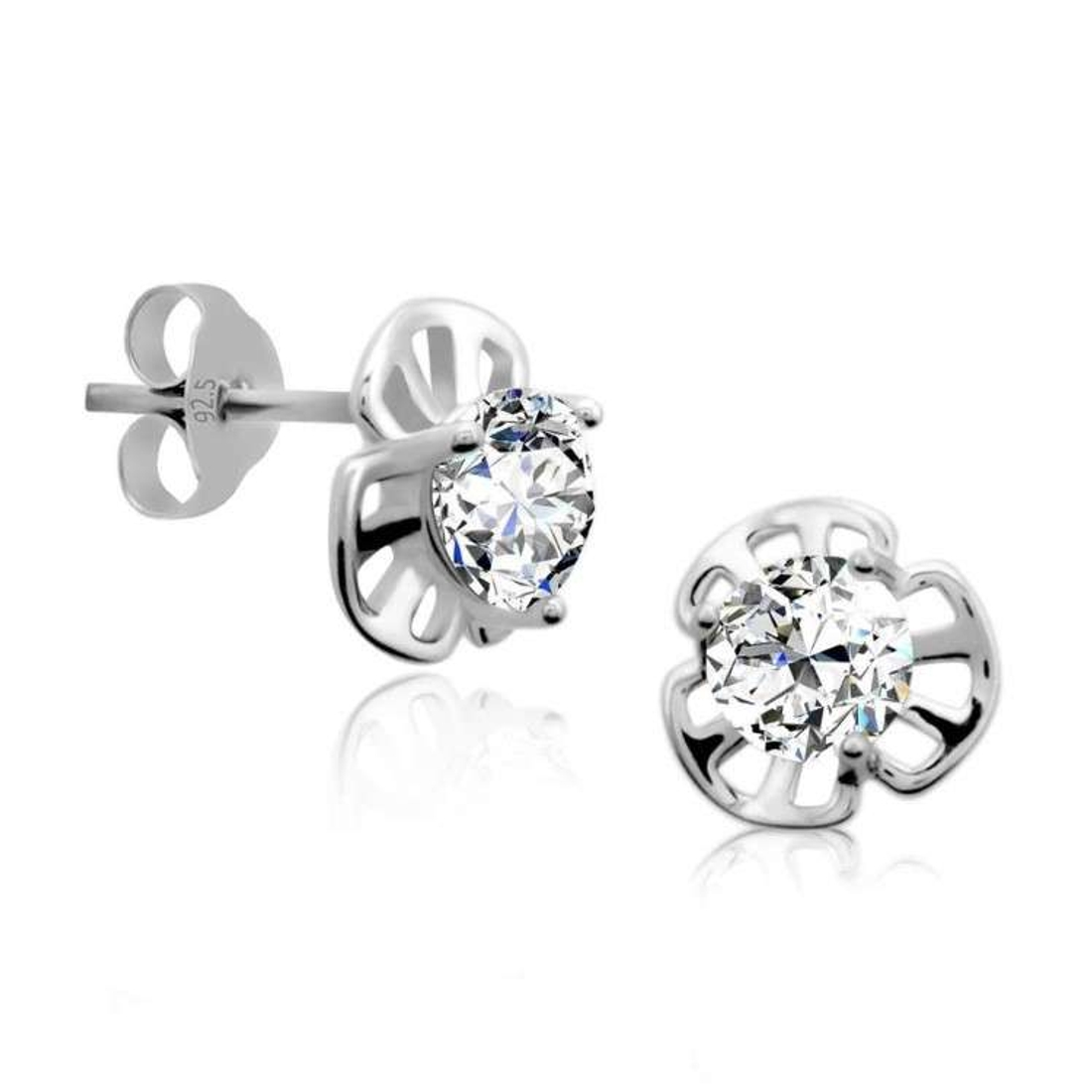 Silver Shine 92.5 Sterling Silver Fancy Small Solitaire Earring For Women & Girls