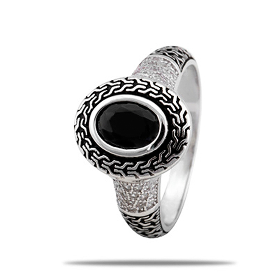 Silver Shine 92.5 Sterling Silver Black Stone Silver Ring for Women & Girls