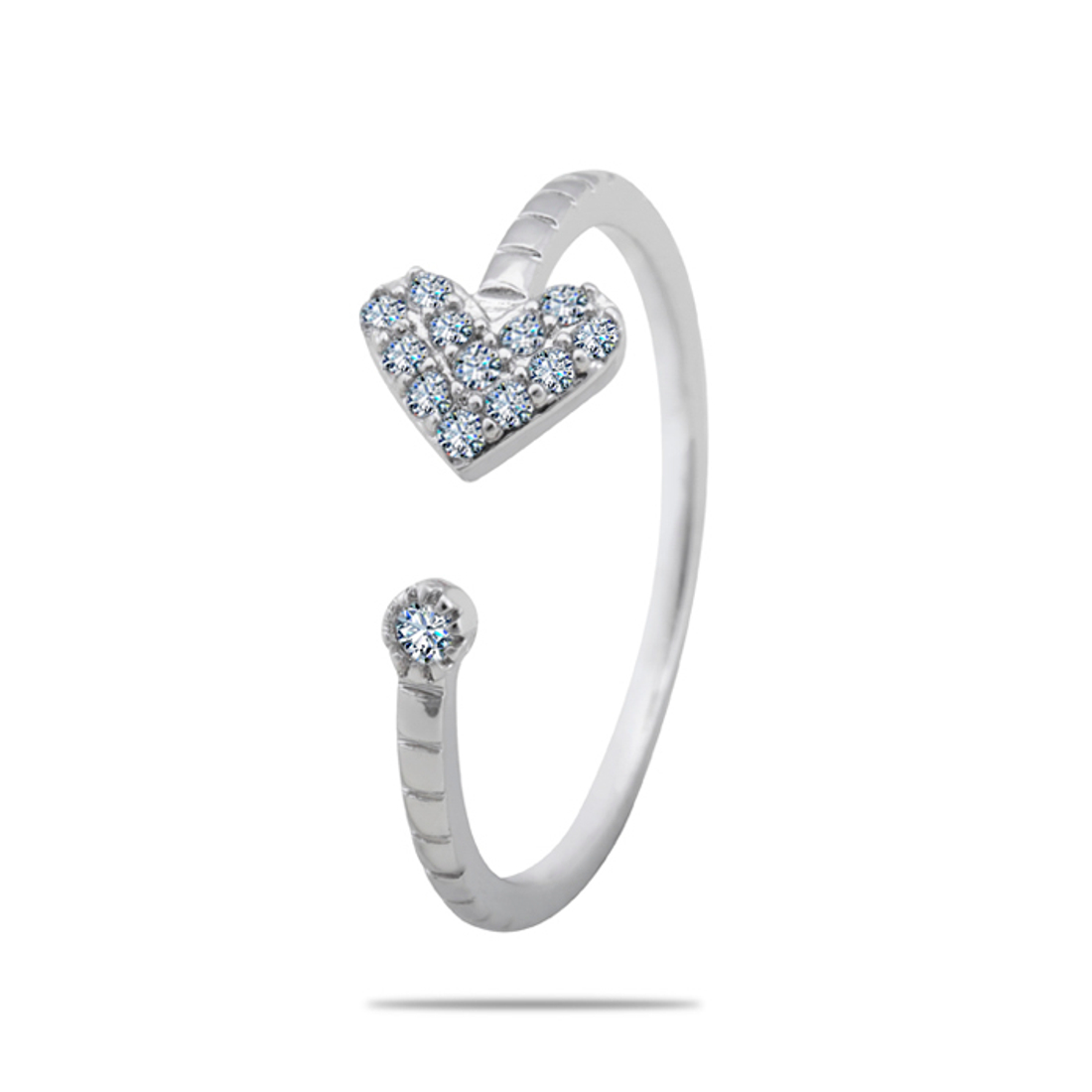 Silver Shine 92.5 Sterling Silver Heart With Diamonds Open Silver Ring  for Women & Girls