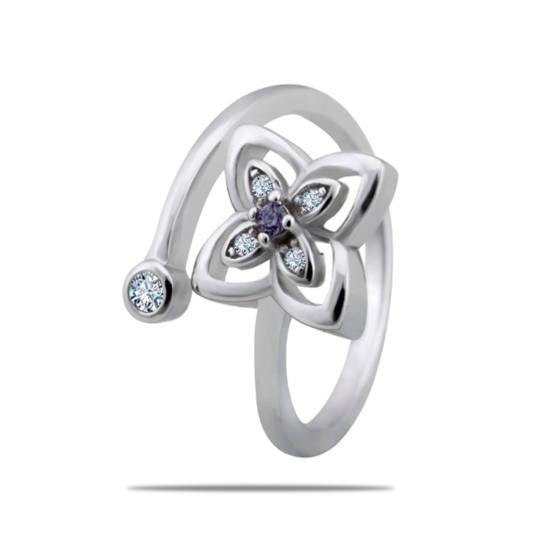 Silver Shine 92.5 Sterling Silver Rose Promise Silver Ring  for Women & Girls
