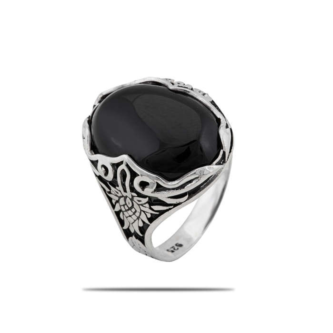 Silver Shine 92.5 Sterling Silver  Big Black Stone Silver Ring   for Mens