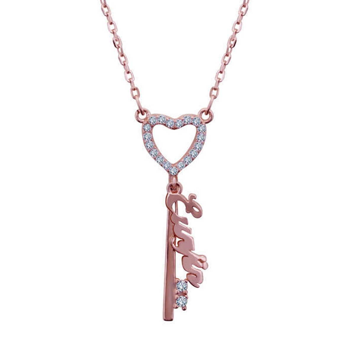 Silver Shine 92 5 Sterling Silver Love Key Rose Gold Necklace For Women Girls