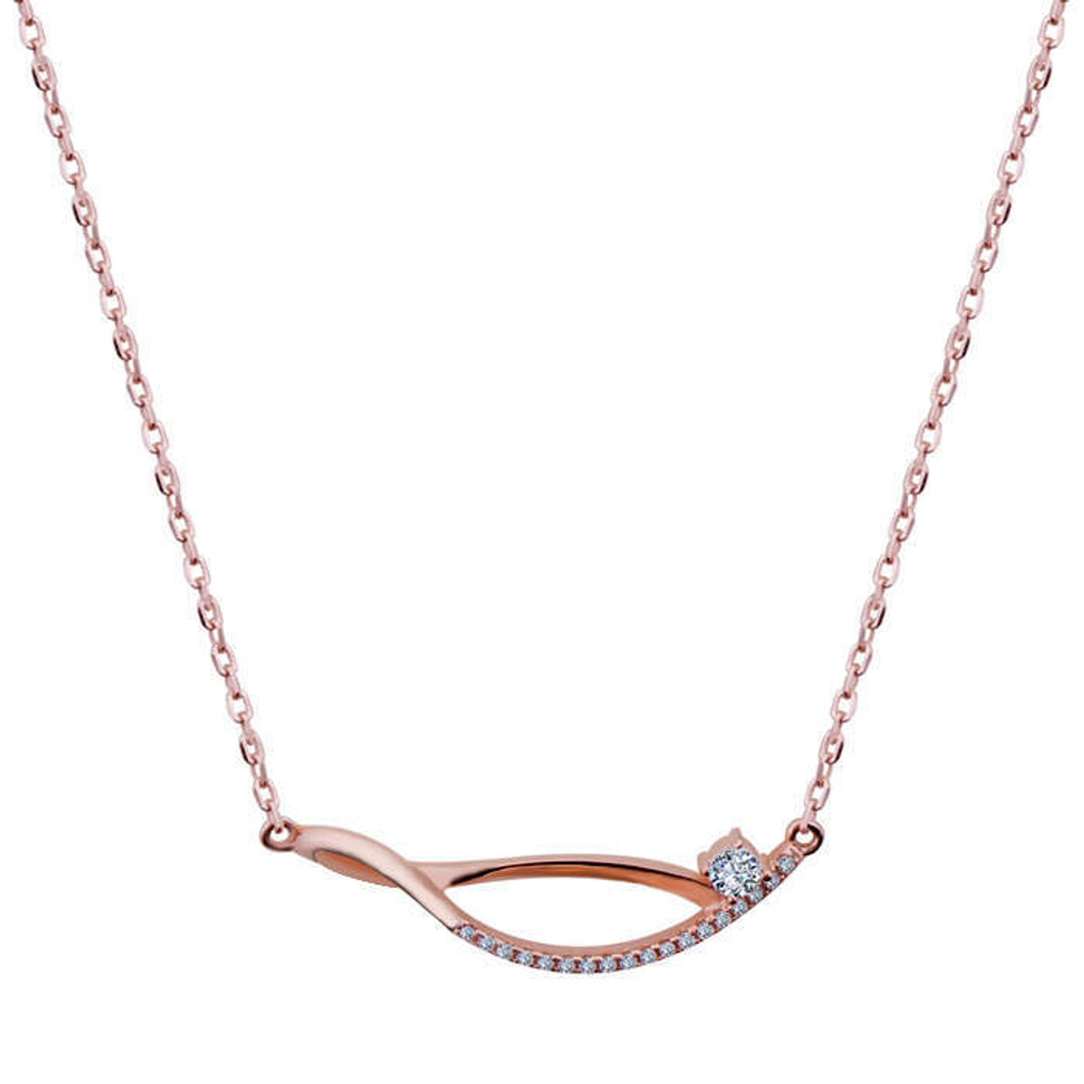 Silver Shine 92 5 Sterling Silver Simple Diamond Rose Gold