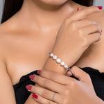 Silver Shine 92.5 Sterling SilverParty Wear Pearl Silver Hard Bracelet for Women & Girls
