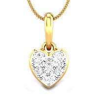 Candere by Kalyan Jewellers Yellow Gold Heart of light Ziah Diamond Pendant for Women (IGI Certified)