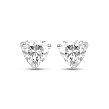 Fiona Solitaires Forever Brilliant Heart 5.5mm Moissanite Earrings weighted 1.08ct (Charles and Colvard) made in Silver.